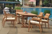 A-grade Teak 7pc Dining 94 Mas Oval Table Vellore Stacking Arm Chair Set Outdoor