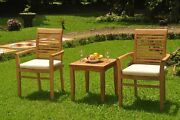 A-grade Teak 3pc Dining Sack Side Table 2 Mas Stacking Arm Chair Set Outdoor