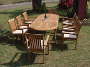 Cahyo A-grade Teak 9 Pc Dining 94 Oval Table Stacking Arm Chair Set Outdoor New