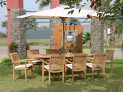 Hari A-grade Teak 9 Pc Dining 94 Oval Table 8 Stacking Arm Chair Outdoor Set Nw