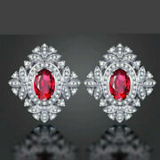 18ct White Gold Stunning Genuine Dimond And Top Quality Ruby Earrings Vs
