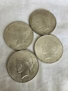 Lot Of 4 - 1923 Peace Silver Dollars