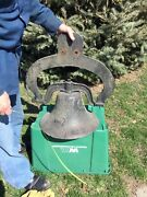"""Antique Large Cast Iron Bell - Ranch, Farm, School - About 18"""" In Diameter."""