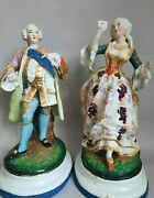 Pair Porcelain Figurines 19th Century Very Antiques Old Paris Stamp Height 25 Cm