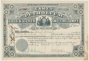 1880 Eames Petroleum Gold And Silver Smelting Company Stock Certificate New York