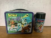 Rare Vintage Andlsquobatman And Robinandrsquo Lunchbox W/ Thermos Andlsquo66 Great Shape