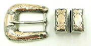 Vintage Sterling And 10k Yellow Gold Mexico Ranger Belt Buckle With 2 Keepers