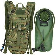 Tactical Molle Hydration Pack Backpack With 3l Tpu Water Digital Woodland