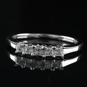 3/4ct Square Princess Cut Simulated Diamond Sterling Silver Five Stone Band Ring