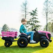 12v Electric Kids Ride On Car Battery-powered Tractor W/ Trailer Toy Pink