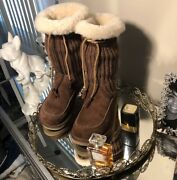 Uggs Suburb Crochet Mid-calf Suede Cement Brown Size 6 Item 5124