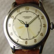 Vintage Wwii Era 35mm Menand039s Universal Steel Military Wristwatch Good Condition