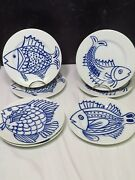 Set Of 7 Fitz And Floyd Les Fish In Glaze Blue And White 7.5andrdquo Dessert Plates