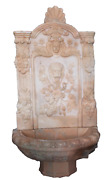 Beautiful Hand Carved Sunset Pink Marble Estate Wall Fountain, Lion And Floral C