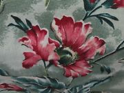 Amazing Super Nubby Barkcloth Rose Pink On Greens And White Drapes Fabric