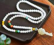 Chinese Natural Hetian Jade Hand Carved Exquisite Necklaces 4896