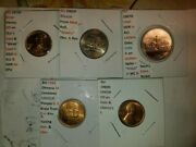 Lot Of 5 Coins Errors W/2007d Utah, 1984 Olmeca, 1960d, 1970s Cents And 2005 Bison