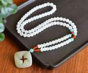 Chinese Natural Hetian Jade Hand Carved Exquisite Necklaces 4899