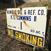 Vintage Antique Porcelain Humble Oil And Ref. Co. Oil Well Lease Sign Memorabilia