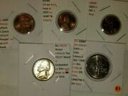 Lot-5 Bu Error Coin W/1959p And 1970s Cents, 2000p Nh, 1957d Nickel And 1984 Olmeca