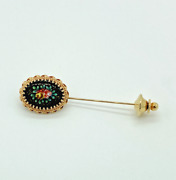 Antique Victorian 14kt Yellow Gold Stick Hat Pin France Hand Painted Floral 4.5g