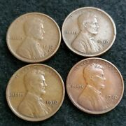 Nice Lot Of Four Vf 1910-s Lincoln Cents
