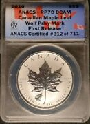2016 Anacs Rp70 Dcam Fr Canadian Maple Leaf Wolf Pm Commemorative 5 Coin