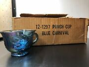 Vintage Indiana Glass Blue Harvest Grape Carnival Glass Punch Bowl Cups 12 Piece
