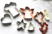 Lot Of 8 Large Copper , Stainless, Plastic Cookie Cutters - Bradshaw, Wilton +