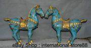 19 Old China Cloisonne Bronze Feng Shui Stand Tang Horse Lucky Sculpture Pair