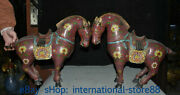 19.2 Old Chinese Cloisonne Copper Palace Feng Shui Tang Horse Statue Pair