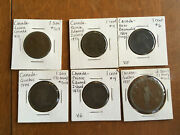 Old Canada Candian Coins 1864 One Cent,1871 One Cent,un Sou Montreal,1844,1837/
