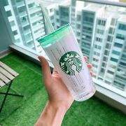 New Starbucks Limited Edition Glass Strawcup Cold Cup18oz Green Lid Snow Flakes