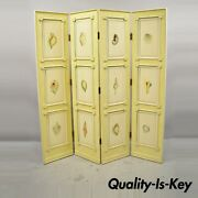 Nautical Four Panel Yellow Folding Screen Room Divider With Painted Conch Shells