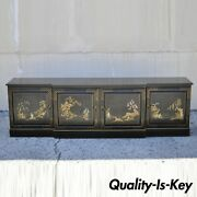 Ebonized Black Lacquer Hand Painted Oriental 90 Long Sideboard Buffet Cabinet