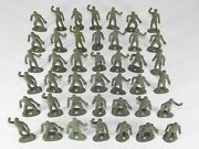 Lot Of 42 Vtg Mpc Early Ring Hand Wwii Us Army Gi Soldiers Green Plastic Toy Set