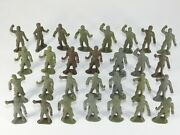 Lot Of 29 Vtg Mpc Early Ring Hand Wwii Us Army Gi Soldiers Green Plastic Toy Set