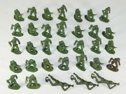 Lot Of 33 Vtg Mpc Later Ring Hand Wwii Us Army Gi Soldiers Green Plastic Toy Set