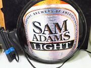 Samuel Sam Adams Boston Lager Light Double-sided Lighted Flanged Wall Bar Sign