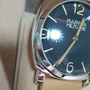 Rxw Mm30 Marina Militare Analog Black Dial Brown Band Wristwatch Cased Rare