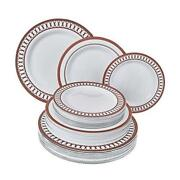 Disposable Dinnerware Set | Heavy Duty Plastic Dishes For 80 Servings Red