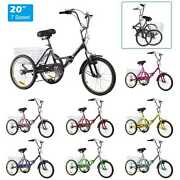 Foldable Tricycle 7speed 20 Cruise Bike+bell+basket Recreation Shopping Workout