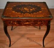 1900 Antique French Louis Xv Walnut And Satinwood Inlaid Flip Top Game Table