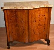 1890s Antique French Louis Xv Satinwood Inlaid And Marble Top Bar Liquor Cabinet