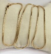 18k Solid Yellow Gold Italy Snake Chain/necklace Dimond Cut. 16andrdquo. 3.35 Grams
