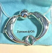 And Co. Sterling Silver Dolphin Baby Teether Rattle In Pouch And Box