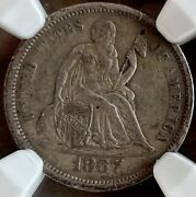 1867 S Seated Liberty Dime 10. Ngc Au55. Choice Look