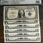 1 Gem Silver Certificate 1935g Us Pmg66 + 5 1957b Uncirculated Sequential