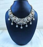 Victorian Full Diamond Polki Wedding Jewelry 925 Sterling Silver And Yellow Gold