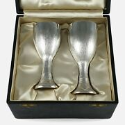 Cased Pair Of Sterling Silver Court Cups Christopher Lawrence 1974